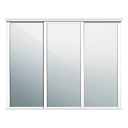 Shaker Traditional White Mirror Sliding Wardrobe Door (W)610mm,