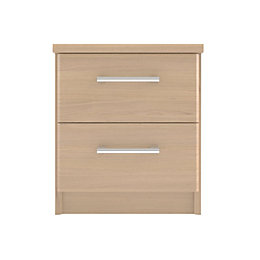 Elsey Natural & Oak Effect 2 Drawer Bedside