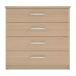 Elsey Natural & Oak Effect 4 Drawer Chest