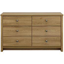 Manor Oak Effect 6 Drawer Chest (H)744 mm