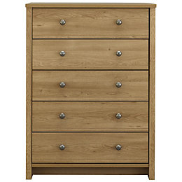 Manor Oak Effect 5 Drawer Chest (H)1152mm (W)858mm