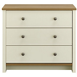 Manor Oak Effect 3 Drawer Chest (H)744mm (W)858mm