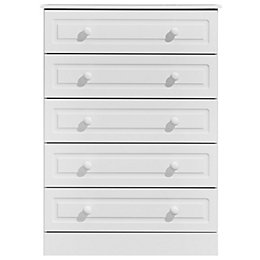 Greenwich White 5 Drawer Chest (H)1140mm (W)830mm (D)450mm