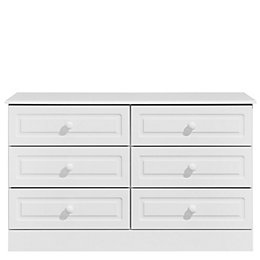 Greenwich White 6 Drawer Chest (H)75 cm (W)123