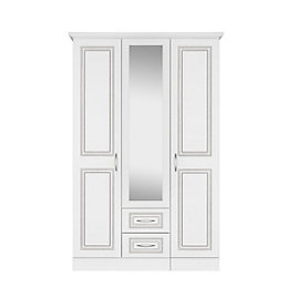 Laysan White 3 Door 2 Drawer Mirror Wardrobe
