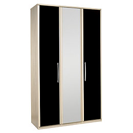 Tamzin Elm & Black 3 Door Mirror Wardrobe