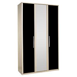 Tamzin Elm & Black 3 Door Mirror Wardrobe