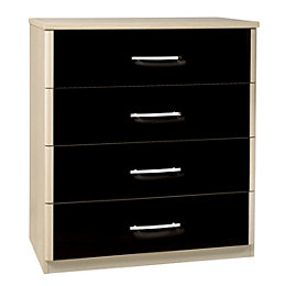 Tamzin Elm & Black 4 Drawer Chest (H)890mm