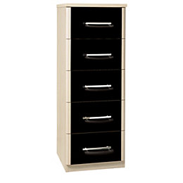 Tamzin Elm & Black 5 Drawer Narrow Chest
