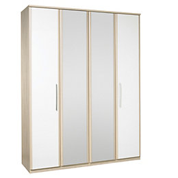 Tamzin Elm & White 4 Door Mirror Wardrobe