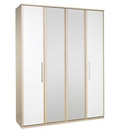 Tamzin Elm & White 4 Door Mirror Wardrobe