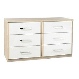 Tamzin Elm & White 6 Drawer Chest (H)69