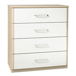 Tamzin Elm & White 4 Drawer Chest (H)89