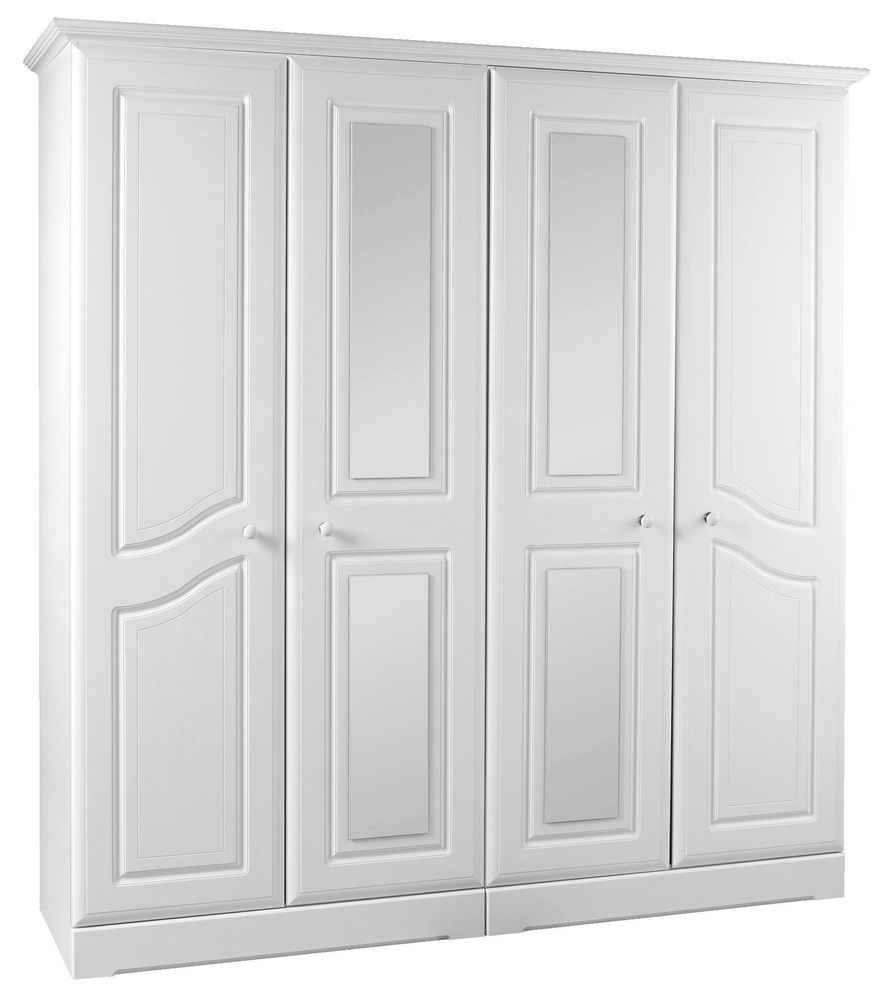 Rocco White Painted 4 Door Mirror Wardrobe (H)1980mm (W)1870mm | Departments | DIY at B\u0026Q