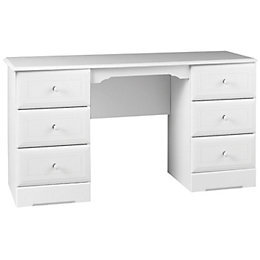 Rocco White 6 Drawer Dressing Table (H)740mm (W)1400mm