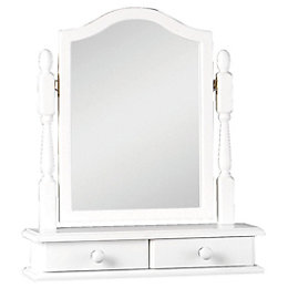 Rocco White Dressing Table Mirror with Drawers (H)64