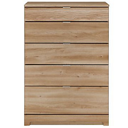 Noah Oak 5 Drawer Chest (H)1140mm (W)800mm