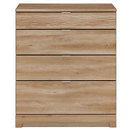 Noah Oak 4 Drawer Chest (H)940mm (W)800mm