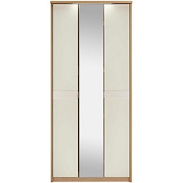 Noah Oak & Mussel 3 Door Mirror Wardrobe
