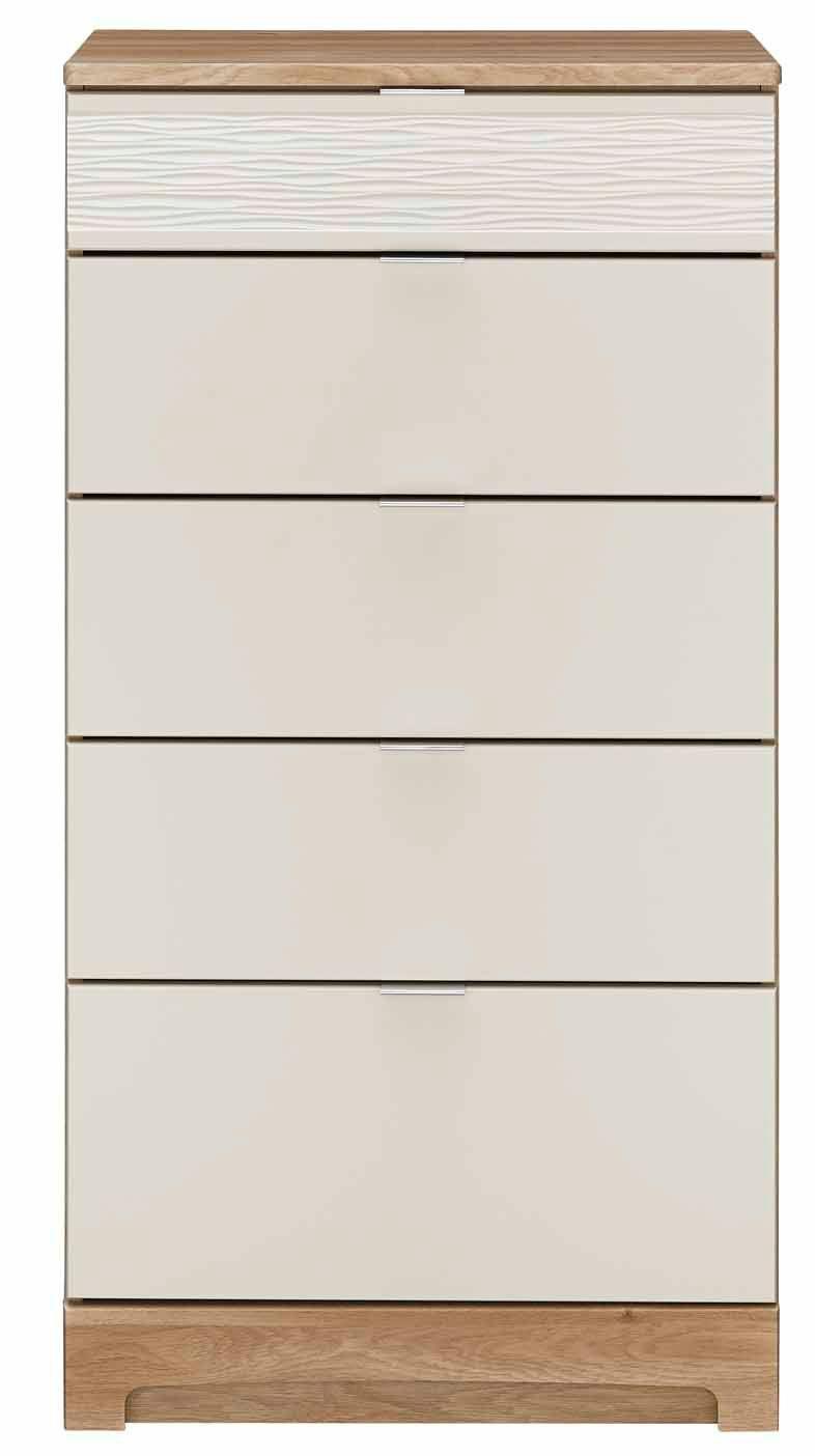 Noah Mussel & Oak Effect 5 Drawer Chest (h)1140mm (w)600mm (d)450mm