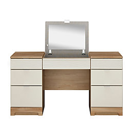 Noah Oak & Mussel Dressing Table with Built