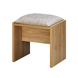 Noah Oak & Mussel Dressing Table Stool (H)450mm