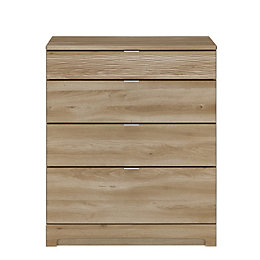Sophia Oak Effect 4 Drawer Chest (H)94 cm