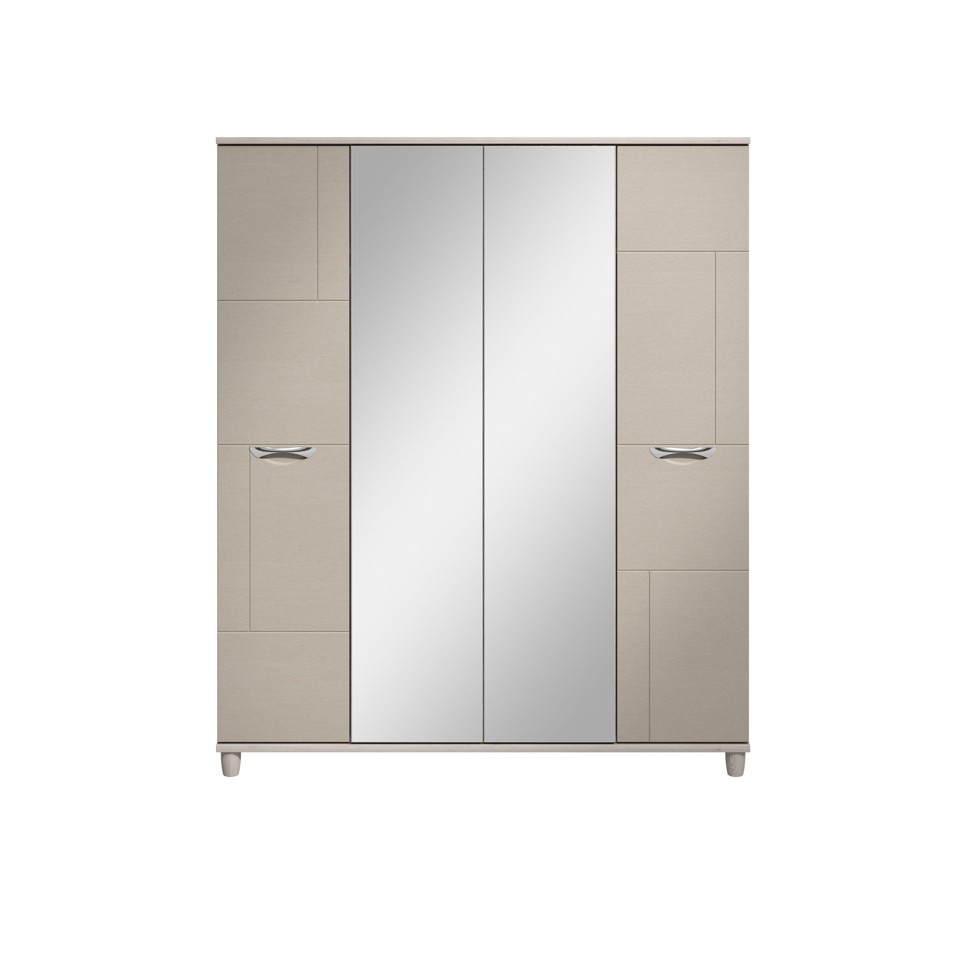 Juno White Elm & Cashmere Effect 4 Door Mirror Wardrobe (h)1930mm (w)1600mm