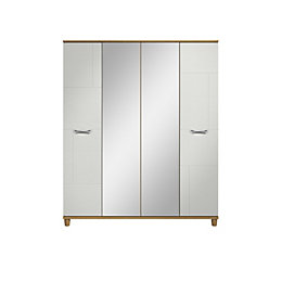 Juno White Oak Effect 4 Door Mirror Wardrobe