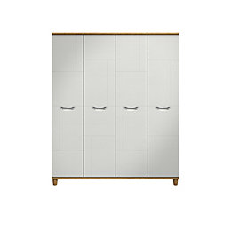 Juno White Oak Effect 4 Door Wardrobe (H)1930mm
