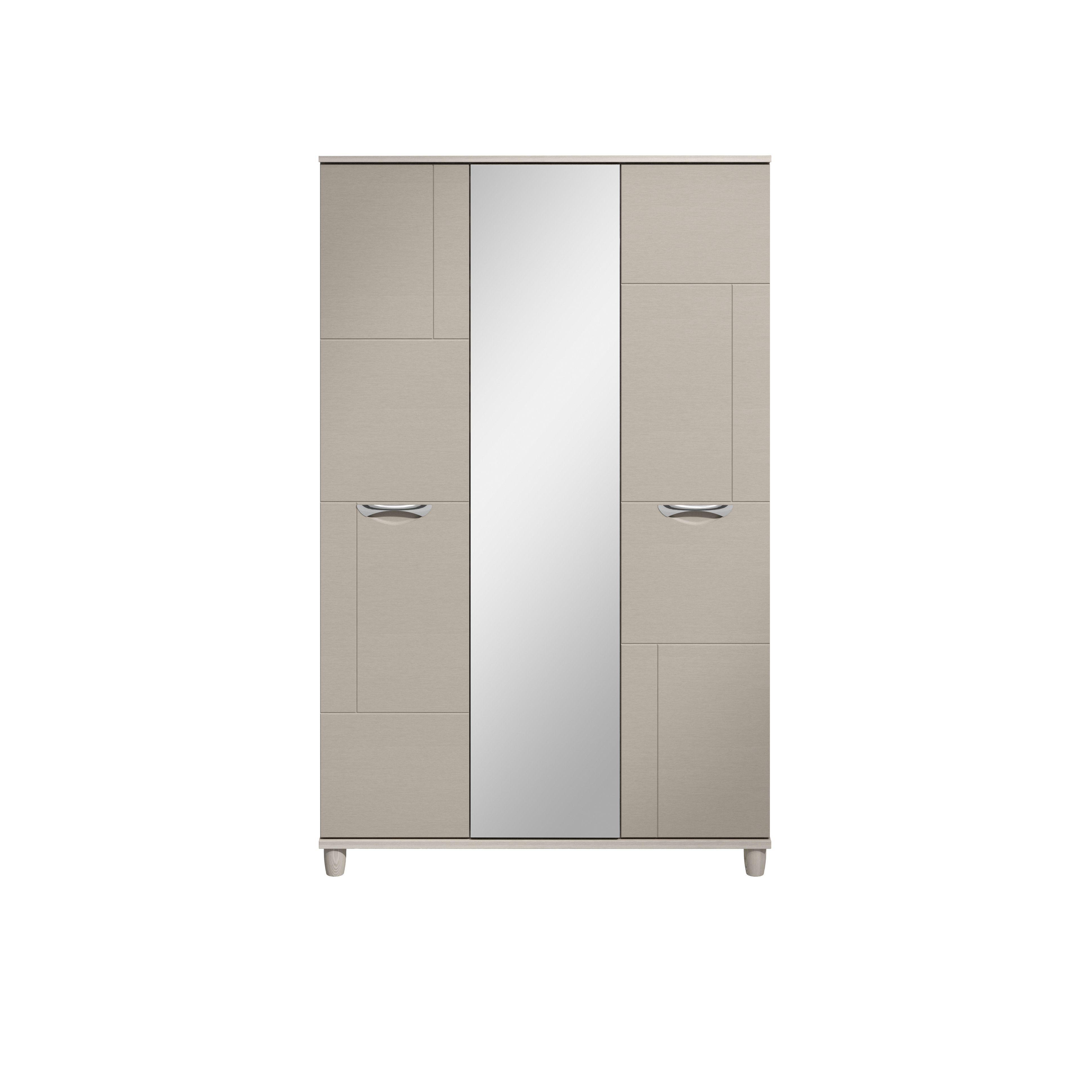 Juno White Elm & Cashmere Effect 3 Door Mirror Wardrobe (h)1930mm (w)1200mm