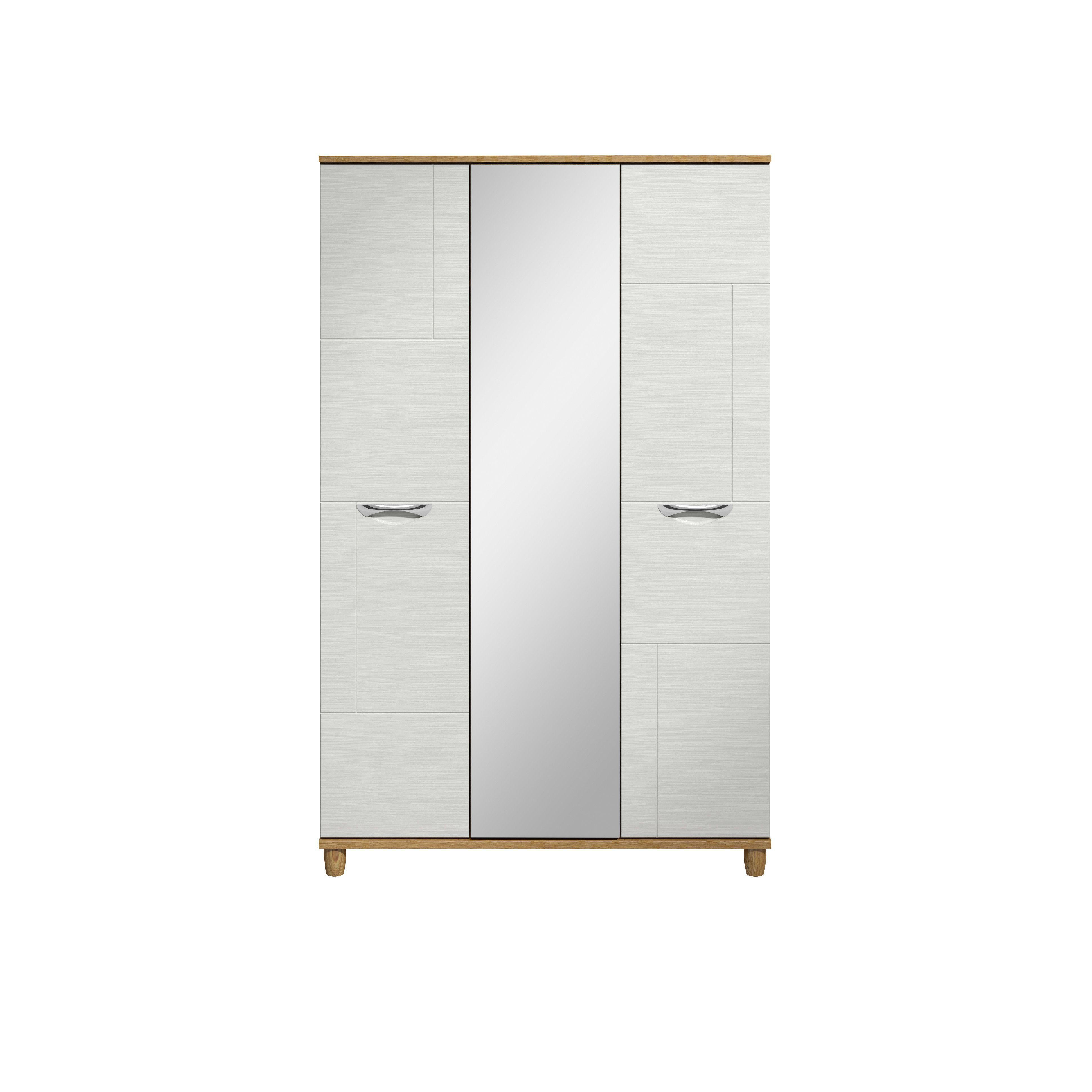 Juno White Oak Effect 3 Door Mirror Wardrobe (h)1930mm (w)1200mm