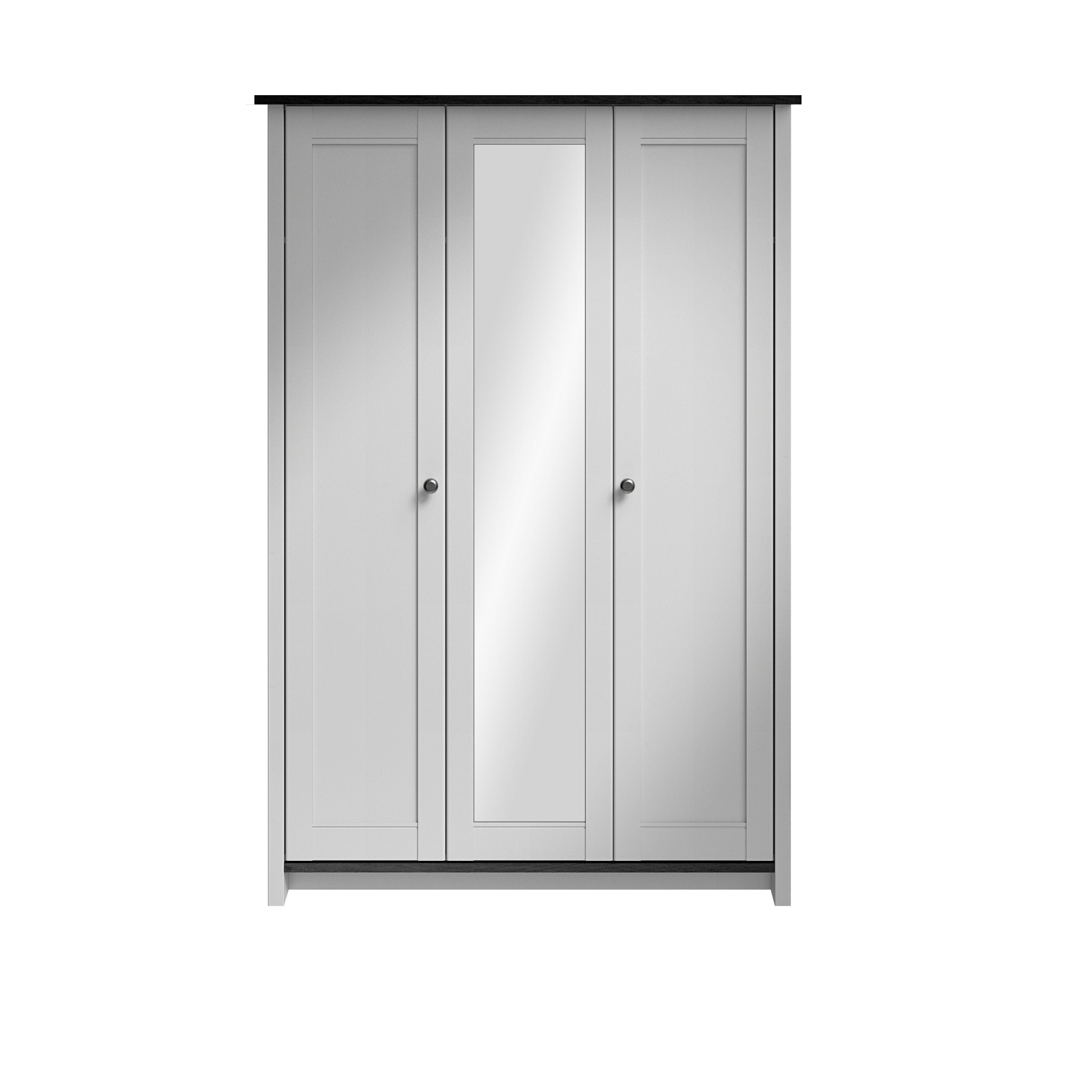 mirror wardrobe. manor grey \u0026 dark oak effect 3 door mirror wardrobe (h)1930mm (w)1700mm | departments diy at b\u0026q