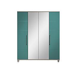 Eris Elm & Teal Mirror Wardrobe