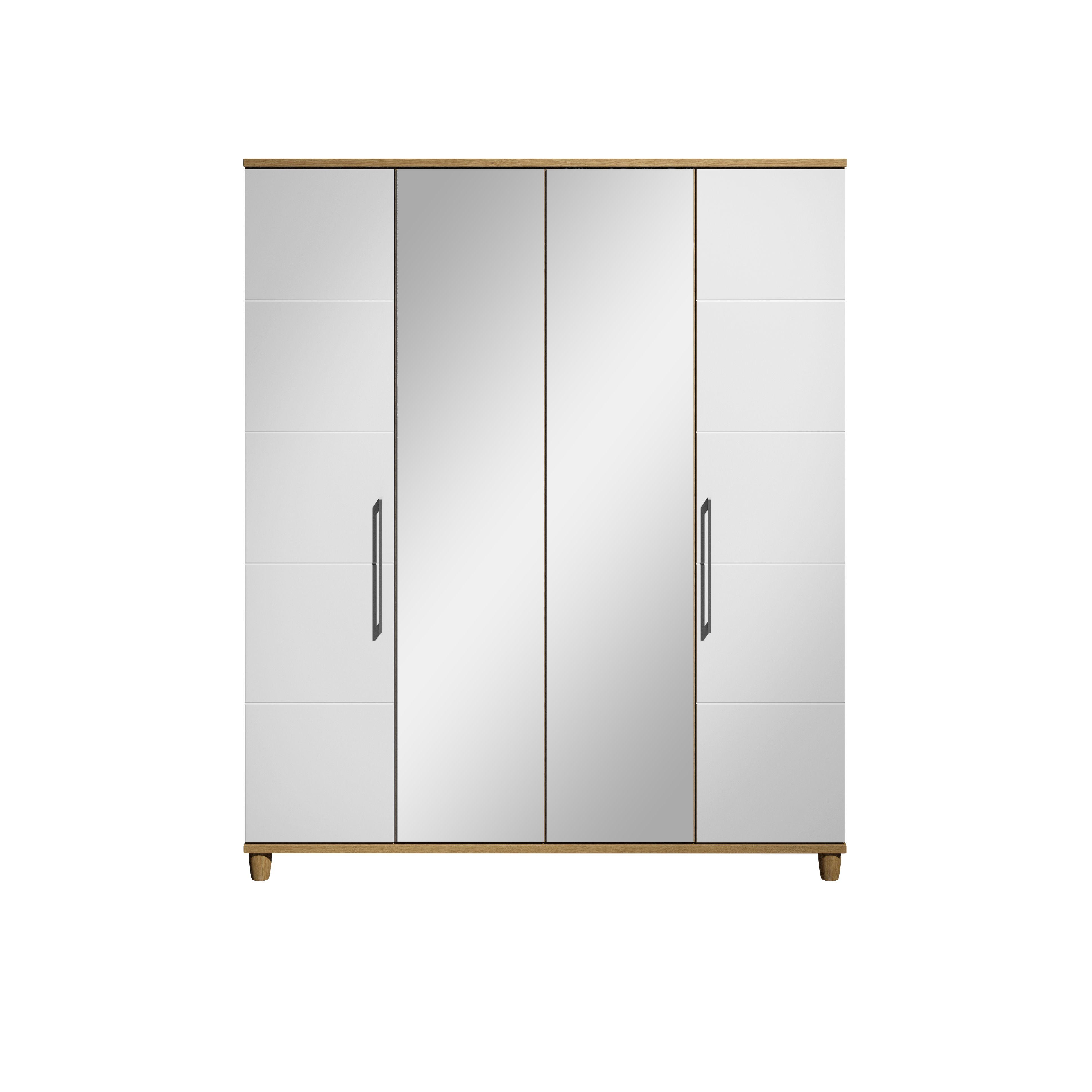 Eris Oak & White Mirror Wardrobe
