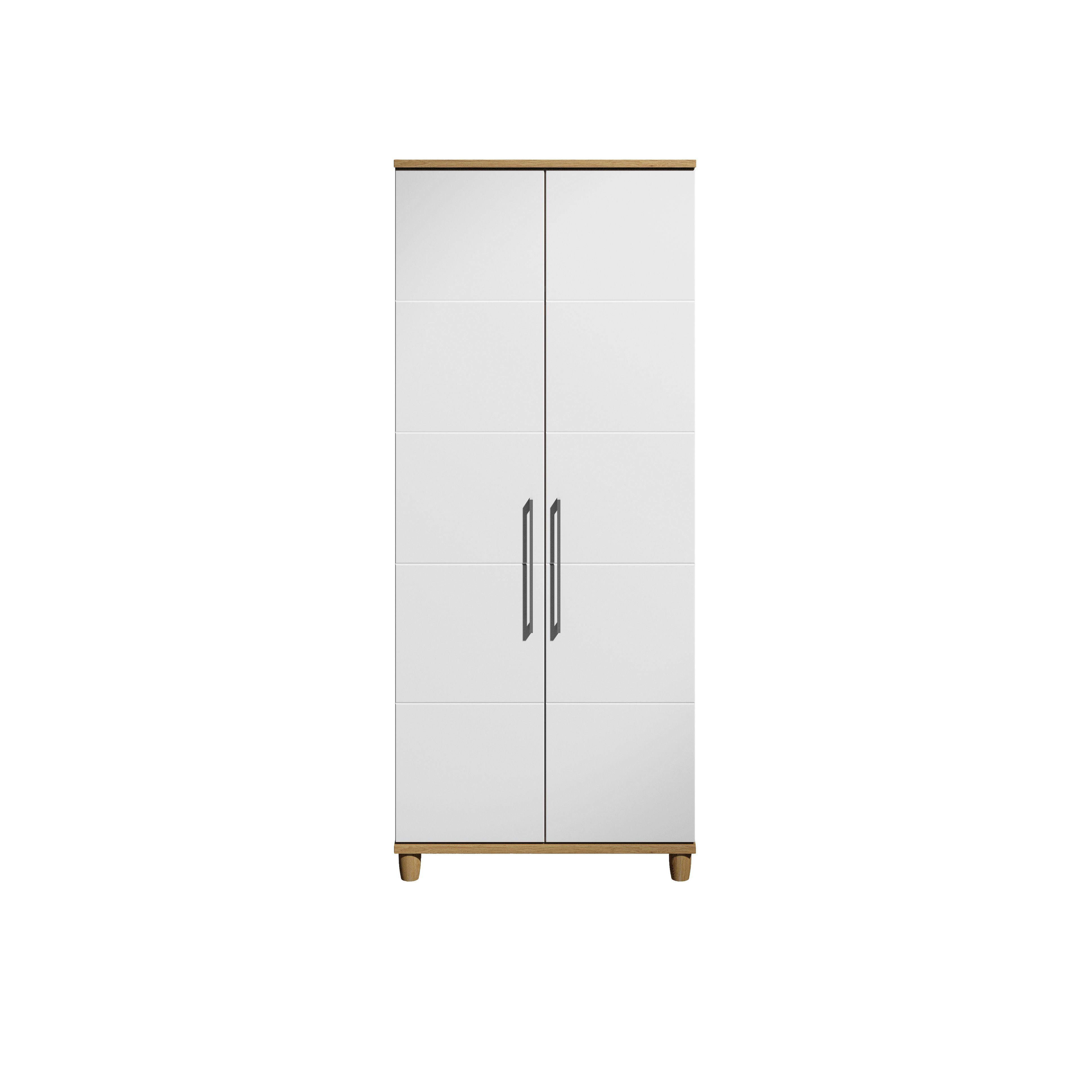 Eris White & Oak Effect 2 Door Wardrobe (h)1929mm (w)804mm
