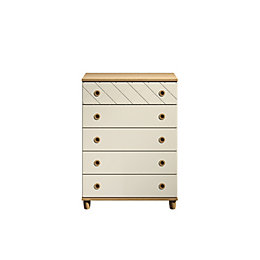 Hektor Oak & Alabaster 5 Drawer Large Chest