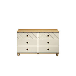 Hektor Oak & Alabaster 6 Drawer Chest (H)710mm