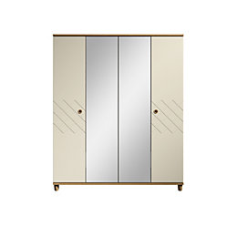 Hektor Oak & Alabaster Mirror Wardrobe