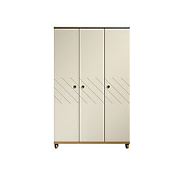 Hektor Oak & Alabaster 3 Door Wardrobe (H)1930