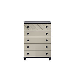 Hektor Black & Soft Grey 5 Drawer Large