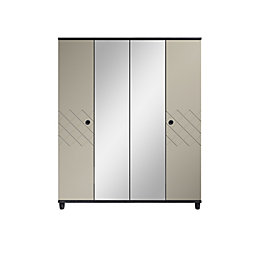 Hektor Black & Soft Grey Mirror Wardrobe