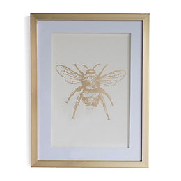 Bee Gold & White Framed Art (W)330mm (H)430mm