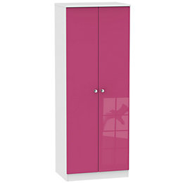 Rosa Pink & White 2 Door Wardrobe (H)197