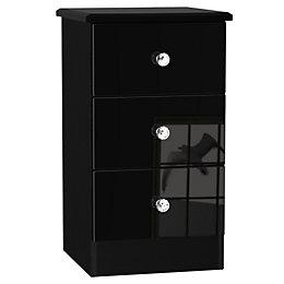 Noire Black 3 Drawer Bedside Chest (H)700mm (W)400mm