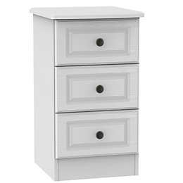 Polar White 3 Drawer Bedside Chest (H)700mm (W)400mm
