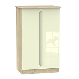 Monte Carlo Cream & Oak Effect Midi Wardrobe