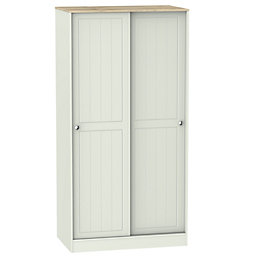 Como Grey & Oak Effect Sliding Wardrobe