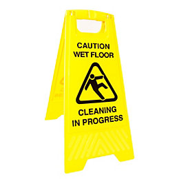 "Plastic Floor Sign with ""Warning Logo"" (H)63cm"