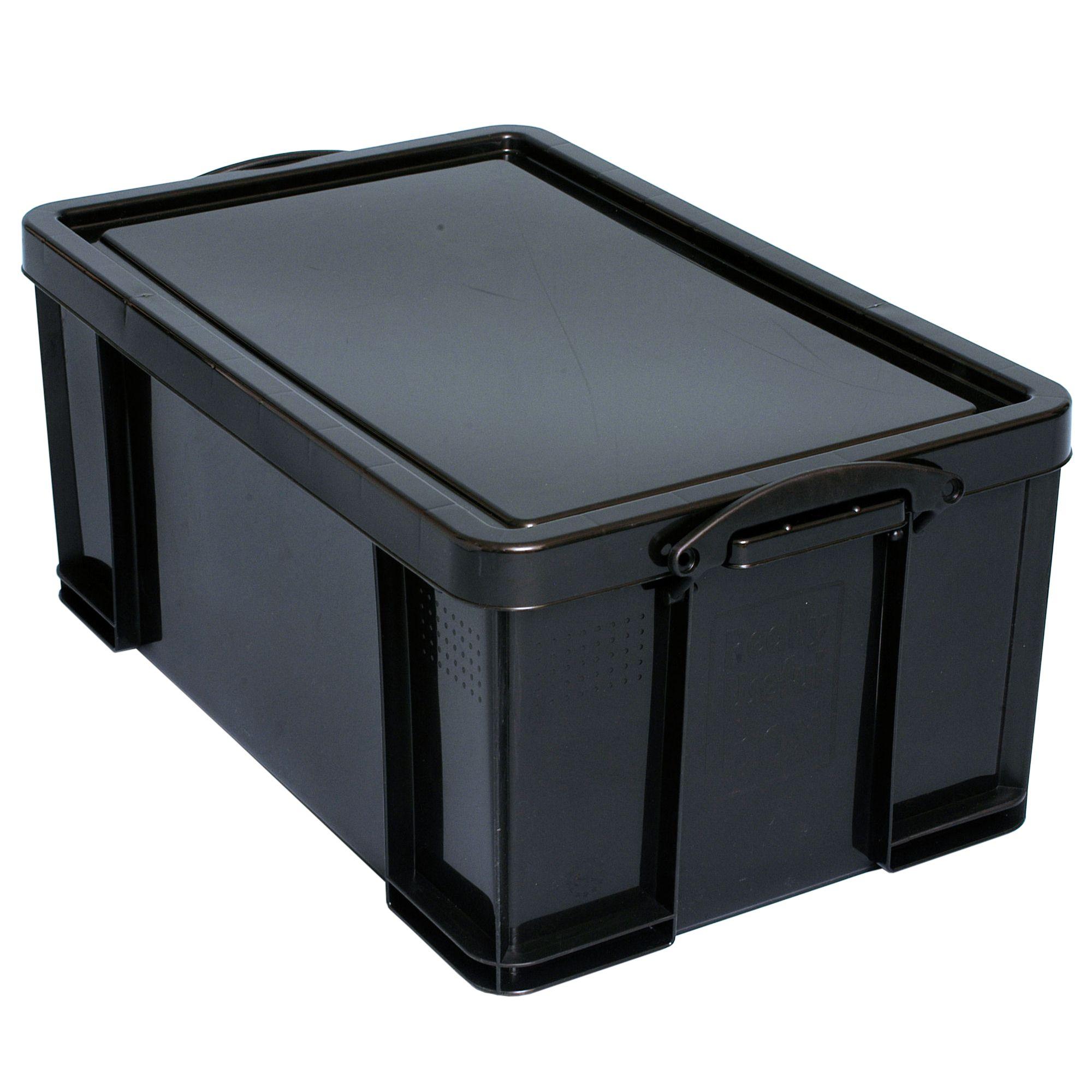 Really Useful Black 64L Plastic Storage Box   Departments ...
